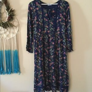 Old Navy blue floral long sleeve dress size M